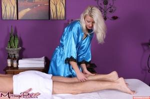 Lavish blonde in bright blue shiny under - XXX Dessert - Picture 4