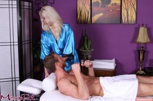 Lavish blonde in bright blue shiny under - XXX Dessert - Picture 5