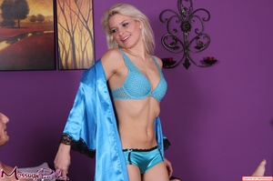 Lavish blonde in bright blue shiny under - XXX Dessert - Picture 7