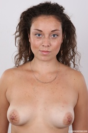 curvy curly haired brunette
