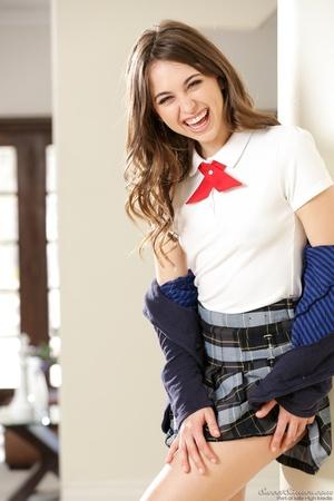 Naughty brunette schoolgirl wearing her  - XXX Dessert - Picture 2