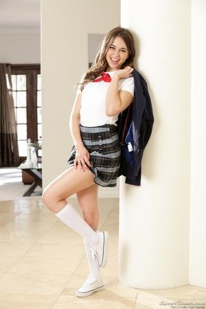 Naughty brunette schoolgirl wearing her  - XXX Dessert - Picture 3