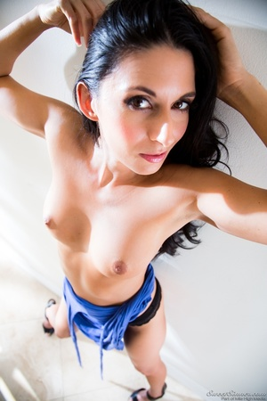 Sexy raven wearing long blue dress model - XXX Dessert - Picture 6