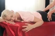 blonde masseuse seduces her