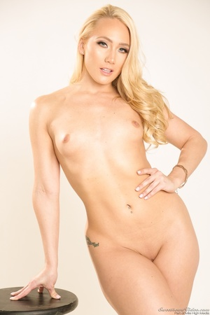 Curvy blondie posing in coral dress and  - XXX Dessert - Picture 15