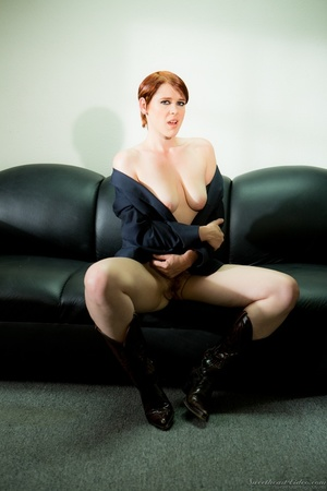 Short-hared redhead posing in men's suit - XXX Dessert - Picture 13