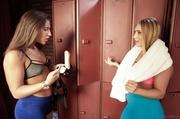 two curvy lesbians caress