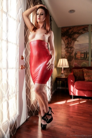 Brunette in red latex dress with holes p - XXX Dessert - Picture 2