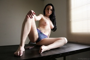 Pale brunette with huge tits posing on a - XXX Dessert - Picture 6