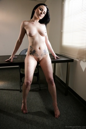 Pale brunette with huge tits posing on a - XXX Dessert - Picture 12