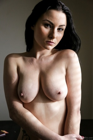 Pale brunette with huge tits posing on a - XXX Dessert - Picture 14