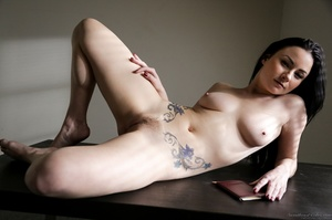 Pale brunette with huge tits posing on a - XXX Dessert - Picture 15