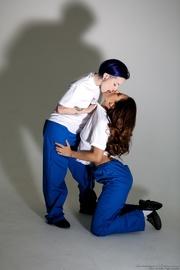 two jailbird lesbians kissing