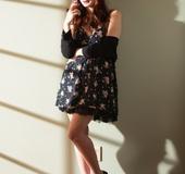 Classy shots with a black dress-wearing redhead MILF