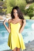 short yellow dress taken