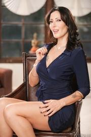 blue dress brunette milf