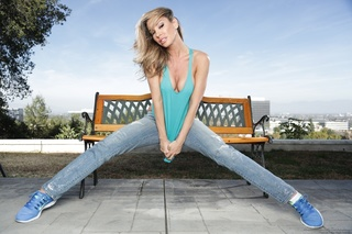 outdoors photoshoot featuring blonde