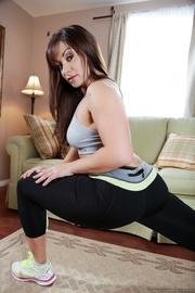 brunette yoga milf does