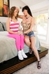 Teen's pink outfit goes first during this lesbian sex scene