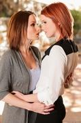 lesbian, redhead, tits
