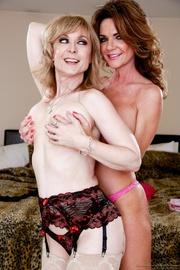 overdressed blonde gilf posing