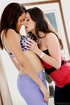 Dark-haired lesbian licking her Latina partner's pussy