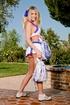 blonde ladyboy cheerleader outfit