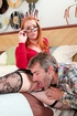 Black stockings dressed redhead sheds her miniskirt and panty just to
