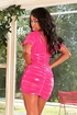 Lovely black babe in pink dress and sexy shaped brunette pull up their