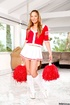 Cheereleader uniform dressed shemale flashing red panty and teasing outdoors