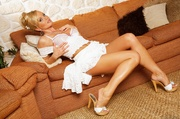blonde's white skirt and