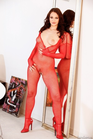 Brunette cutie in crotchless red fishnet - XXX Dessert - Picture 2