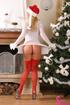 glamorous blonde red stockings