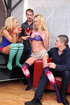 Blondes duo in socks shed their underwear before being gang banged and