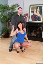 high heeled brunette blue
