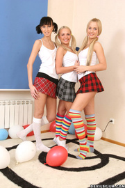 two blondes striped socks