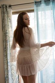 redhead sheer white nightgown
