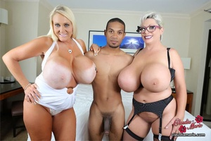 Two busty blonde BBWs pose dressed in op - XXX Dessert - Picture 2