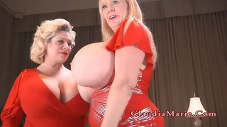 two bbws dressed red