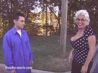 spectacled blonde milf lets