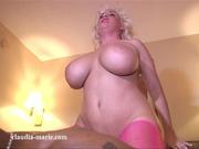 blonde pink fishnets riding