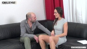 silver dress brunette fucks