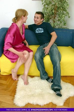 Old blonde babe teases a younger stud wi - XXX Dessert - Picture 4