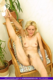 steaming hot blonde sits