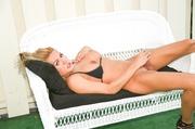 hot blonde bikini strips