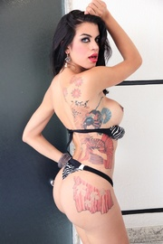 inked brunette trans teases