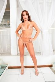 perky brunette bikini takes