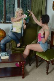 denim-clad schoolgirls spill their