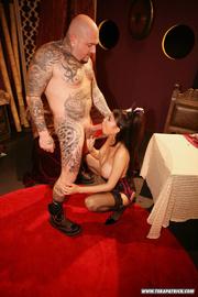 tattooed guy fucks busty