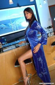 curvy brunette blue teases
